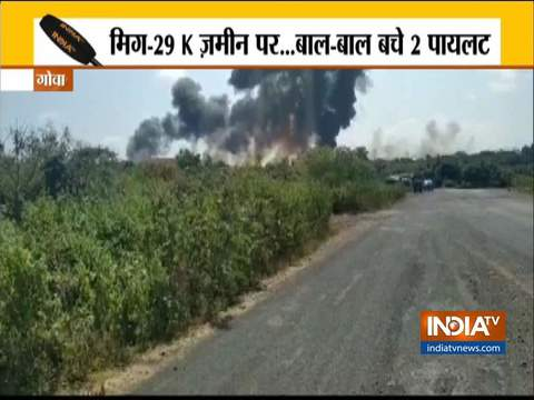 Navy MiG-29K fighter aircraft crashes in Goa, pilots safe - India TV News