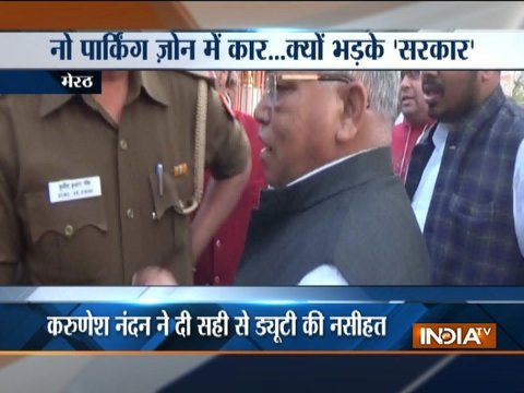 BJP leader loses his cool after lady constable file challan against him in Meerut