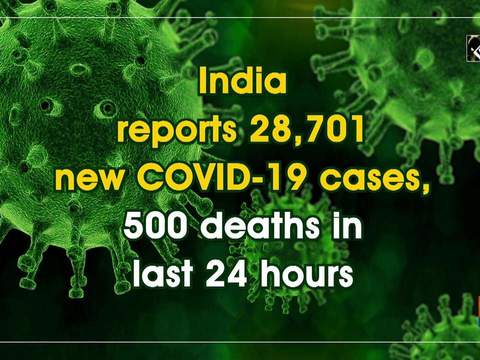 India reports 28,701 new COVID-19 cases, 500 deaths in last 24 hours