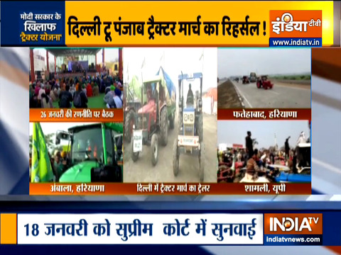 Farmers rehearse tractor parade for Republic Day