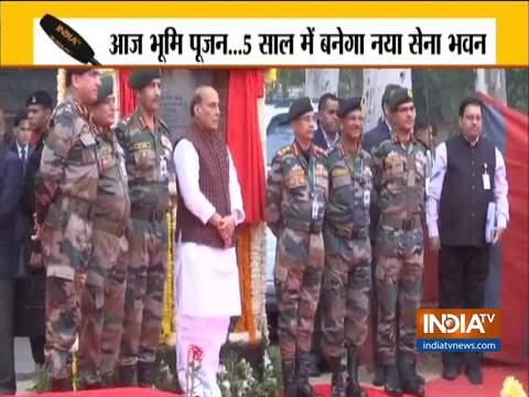 दिल्ली: थल सेना भवन के शिलान्यास समारोह में पहुंचे राजनाथ सिंह और सेना प्रमुख एमएम नरवाना