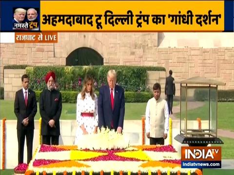 अमेरिकी राष्ट्रपति डोनाल्ड ट्रम्प और प्रथम महिला मेलानिया ट्रम्प ने महात्मा गांधी को राज घाट पर श्रद्धांजलि अर्पित की