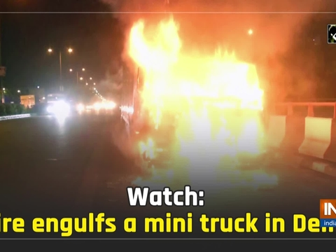 Watch: Fire engulfs a mini truck in Delhi