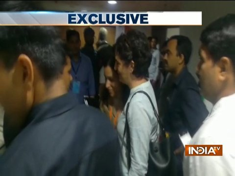Priyanka Gandhi Vadra meets party workers after Congress Plenary Session