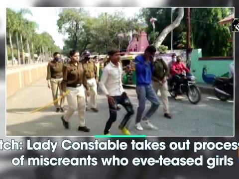 Watch: Lady Constable takes out procession of miscreants who eve-teased girls