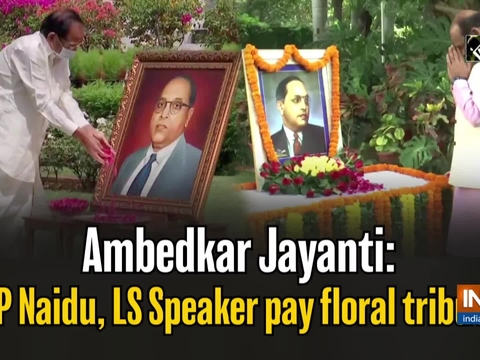 Ambedkar Jayanti: VP Naidu, LS Speaker pay floral tribute