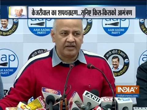 AAP नेता मनीष सिसोदिया ने केजरीवाल के शपथ ग्रहण समारोह से पहले प्रेस को किया संबोधित