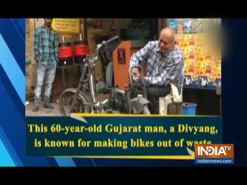 Watch: This 60-year-old Gujarat man, a Divyang, is known for making bikes out of waste