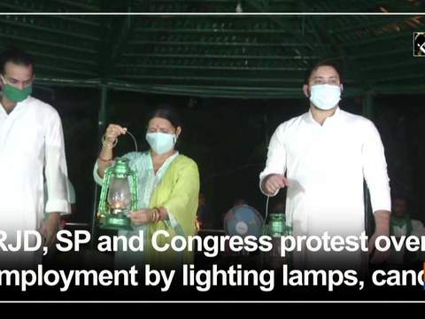 RJD, SP and Congress protest over unemployment by lighting lamps, candles