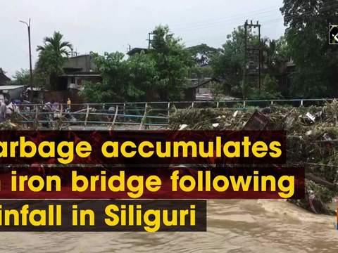Garbage accumulates on iron bridge following rainfall in Siliguri