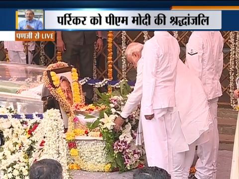 गोवा के मुख्यमंत्री मनोहर पर्रिकर को पीएम मोदी ने दी श्रद्धांजलि