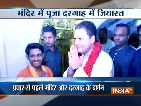Karnataka: Rahul Gandhi visits a temple and a dargah in Kalaburagi