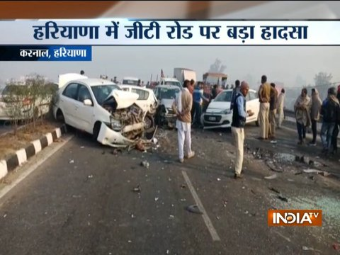 Multiple accidents due to low visibility caused by fog in Karnal