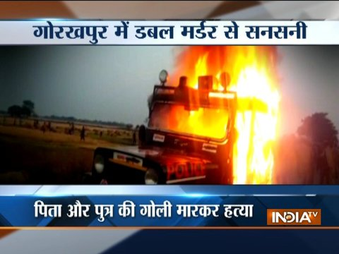 Gorakhpur double murder case: Locals set police vehicles ablaze in protest