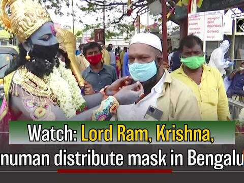 Watch: Lord Ram, Krishna, Hanuman distribute mask in Bengaluru