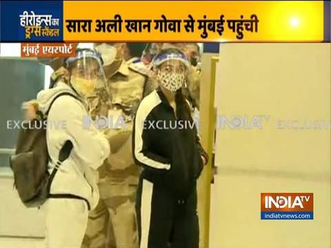अभिनेत्री सारा अली खान मां अमृता सिंह के साथ मुंबई पहुंची