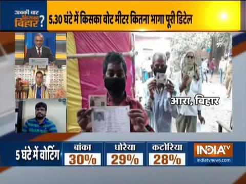 बिहार चुनाव: कोविद -19 के खतरे के बीच मतदाता बड़ी संख्या में मतदान करने के लिए घर से निकले