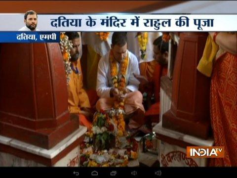 मध्य प्रदेश: इंदिरा, राजीव के बाद अब राहुल ने भी किए मां पीताम्बरा के दर्शन, आधा घंटे तक मंदिर में रहे