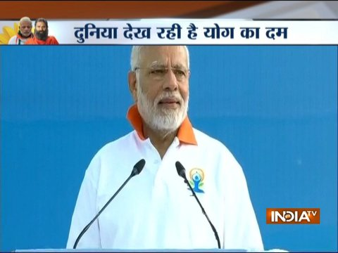 International Yoga Day 2018: PM Modi addresses a gathering at FRI in Dehradun, Uttarakhand