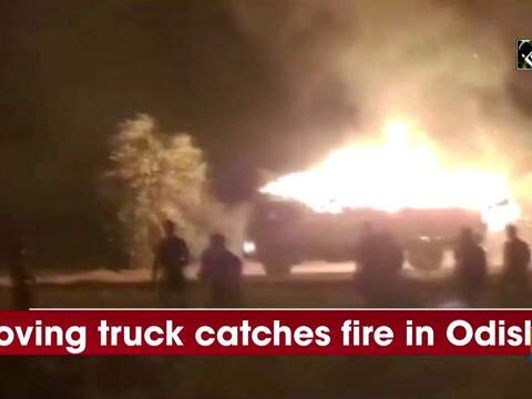 Watch: Moving truck catches fire in Odisha