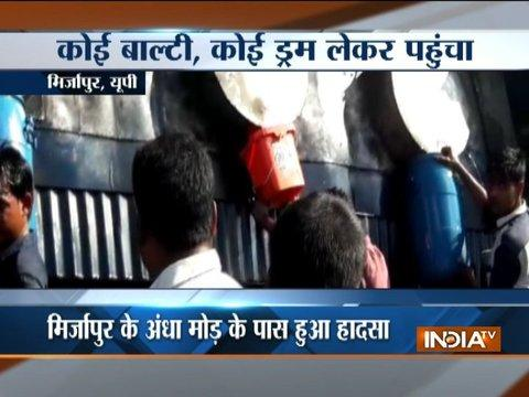 UP: Diesel tanker turns turtle in Mirzapur