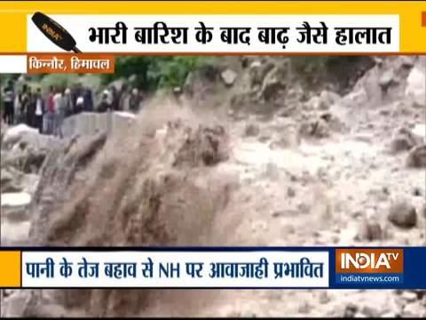 हिमाचल के किन्नौर में भारी बारिश के बाद बाढ़ जैसे हालात