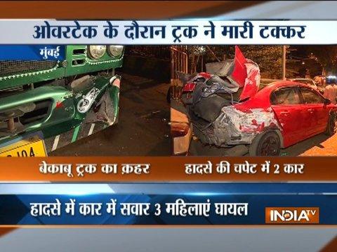 Speeding trucks hit cars in Mumbai, 3 injured