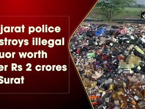 Gujarat police destroys illegal liquor worth over Rs 2 crores in Surat