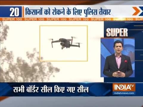 सुपर 100 | दिल्ली में किसान आंदोलन को रोकने के लिए हरियाणा ने राज्य की सीमाएँ सील की