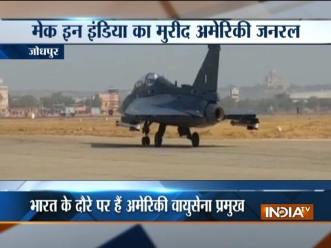 US Air Force Chief General David L. Goldfein flies LCA Tejas in Jodhpur