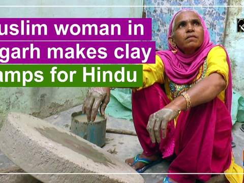 Muslim woman in Aligarh makes clay lamps for Hindu festival