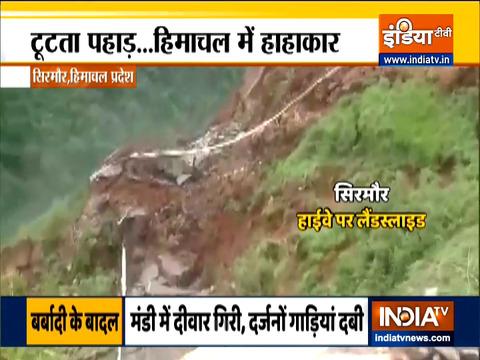 Landslide in a remote part of Himachal's Sirmaur district.