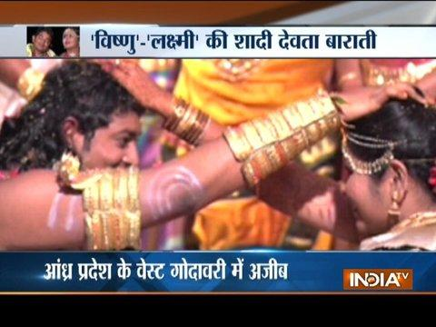 Andhra Pradesh : Vishnu theme marriage—Bride dressed like Lakshmi, Bridegroom as Vishnu