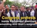 Congress protests inside Parliament premises demanding Amit Shah's resignation
