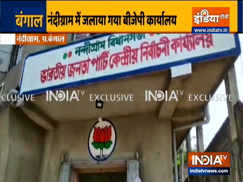 नंदीग्राम में भाजपा और TMC कार्यकर्ताओं के बीच झड़प के बाद तनाव; भाजपा कार्यालय में आग लगाई गई
