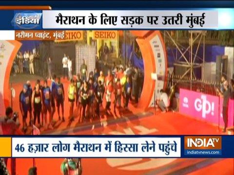 मुंबई मैराथन में हिस्सा लेने पहुंचे देश-विदेश से हज़ारों लोग