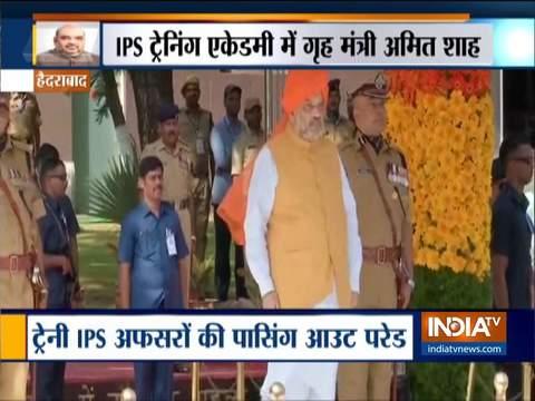 हैदराबाद में आईपीएस प्रोबेशनर्स की पासिंग आउट परेड में मौजूद रहे गृह मंत्री अमित शाह