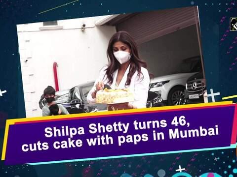 Shilpa Shetty turns 46, cuts cake with paps in Mumbai