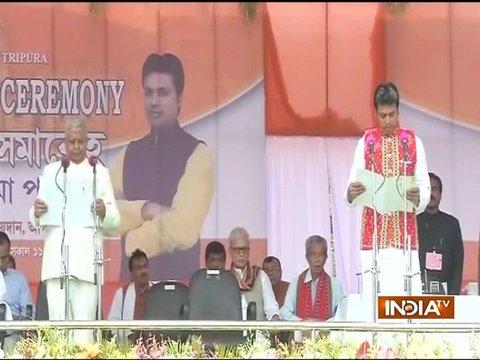 Agartala: Biplab Deb takes oath as the next Chief Minister of Tripura