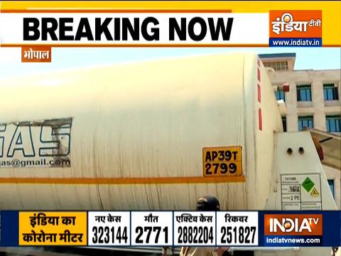 Madhya Pradesh: Oxygen tanker reaches AIIMS Bhopal