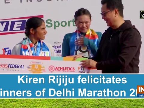 Kiren Rijiju felicitates winners of Delhi Marathon 2021