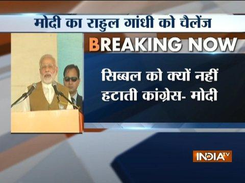 PM Modi challenges Rahul Gandhi to fire Kapil Sibal over Ayodhya fiasco