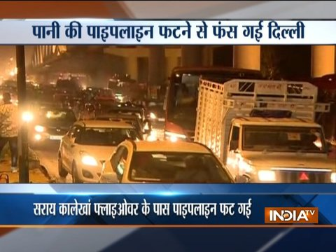 Broken pipeline, car on fire bring traffic to standstill in Delhi