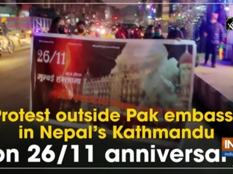 Protest outside Pak embassy in Nepal's Kathmandu on 26/11 anniversary