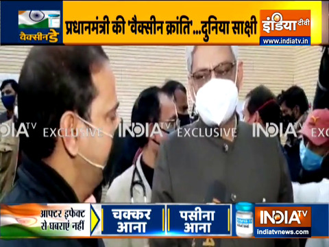 Lohia institute director Dr. AK Singh receives first shot of vaccine in Lucknow