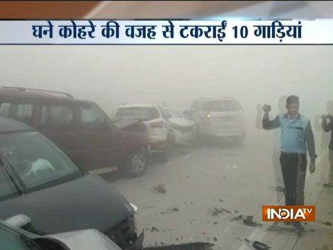 Watch: 10 cars collide on Yamuna expressway due to dense smog