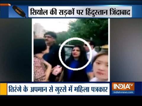 भाजपा नेता शाज़िया इल्मी ने सियोल में भारत विरोधी नारे लगाने वाले पाक समर्थकों का सामना किया