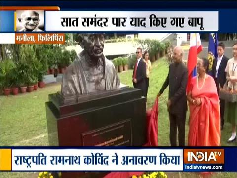 राष्ट्रपति राम नाथ कोविंद ने मनीला में महात्मा गांधी की प्रतिमा का किया अनावरण