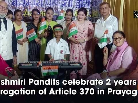 Kashmiri Pandits celebrate 2 years of abrogation of Article 370 in Prayagraj