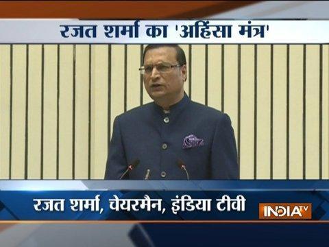 Rajat Sharma speaks on violence and terrorism at Ahimsa Diwas Samaroh